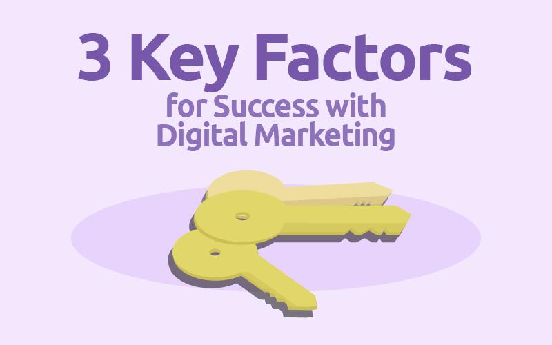 """Zeichnung zeigt 3 Schlüssel und die Aufschrift:""""3 Key Factors for success with digital Marketing"""""""