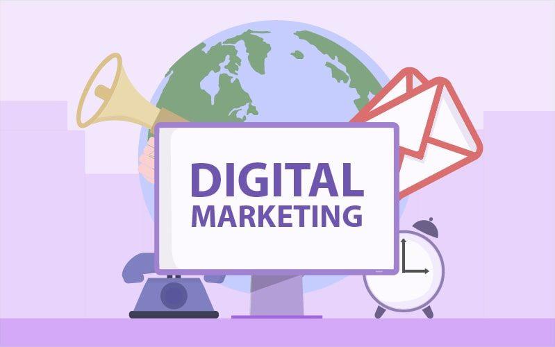 Zeichnung mit der Aufschrift digital Marketing