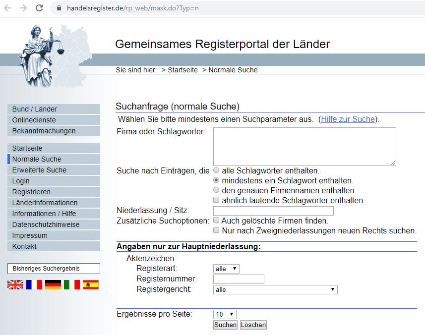 Startseite Gemeinsames Registerportal der Länder