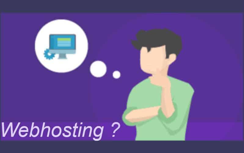 Eine gezeichnete Figur fragt sich: Was ist Webhosting?