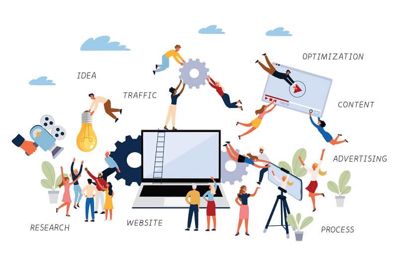 Grafische Darstellung von Menschen mit Werkzeugen für die Optimierung einer Webpräsenz