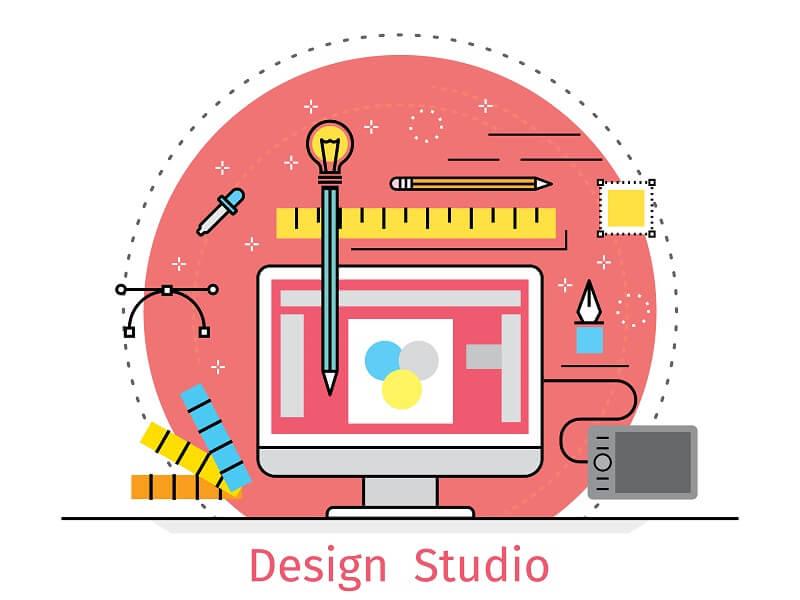 Zeichnung von einem Monitor und Design-Werkzeugen